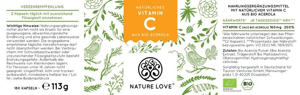 nature love natürliches Vitamin C DE-ÖKO-007